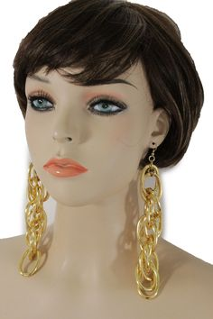 """Sexy Women Fashion Hot Jewelry Thick Links Hip Hop Long Drop Condition: Brand New Style: Cool / Fun / Chic / Chunky / Hip Hop / Urban / Special Material: Mixed Metal Condition : Brand New Color: Gold Size: 1"""" X 5"""" Occasion: Cocktail, Gift, Christmas, Halloween, Party, Prom, Wedding, Bridal, Office Trendy Fashion Elegant Earrings Set Very Unique Fashion And Stylish Jewelry. Las Vegas / Miami Beach Party For A Special Event And For A Going Out Night. Special Fashion Earring Set Wear All Year Around Summer Spring Winter And Fall Please Feel Free To Contact Us For Any Question Or Issue"""