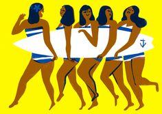 New illustration: Lynnie Zulu, Outline Artists, the Art of Ping Pong & Art And Illustration, Character Illustration, People Illustration, Outline Artists, Girl Outlines, London Transport Museum, Art Vintage, Surf Art, Illustrators