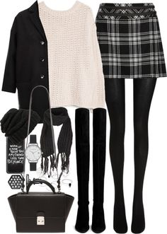 Outfit for winter with knee high boots by ferned featuring a plaid skirt MANGO long sleeve sweater, 39 AUD / Topshop black coat, 125 AUD / Karl Lagerfeld plaid skirt, 130 AUD / Wolford black stocking,...