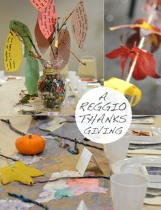 This past summer I made a big change and got a new job at a Reggio based school in Los Angeles. I had been learning more and more about the Reggio approach to learning and when I came across a little… November Thanksgiving, Thanksgiving Projects, Thanksgiving Preschool, Thanksgiving Art, Fall Preschool, Preschool Themes, Preschool Classroom, Thanksgiving Decorations, Reggio Emilia Classroom