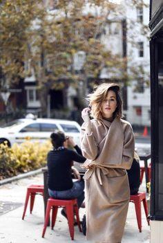Camel wrap coat