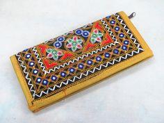 Indian Cotton Embroidered Clutch Bag Women Casual Boho Gypsy Handbag Wallet Purse