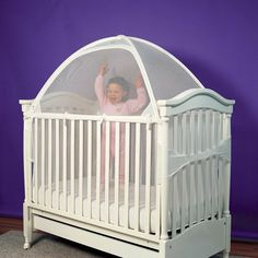 Crib tent to keep cats out! Also can be used to keep your toddler in & Jailbreak: Toddlers Climbing Out of Cribs...mattress directly on ...