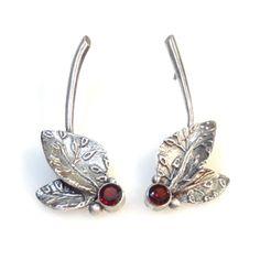 Vickie Hallmark - Garnet Leaf Earrings