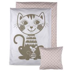 Roommate . Soulmate Baby Bedding Set . Cat / Pink