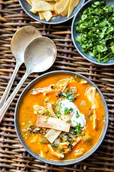 Chicken Tortilla Soup recipe - so good for you and filled with so much flavor! I use Hatch Chiles but you can just toss in some canned green chiles, too - it's all good. SO HEALTHY AND DELICIOUS!