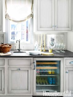 Butler's Pantry - cabinets painted in milk paint