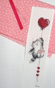Margaret Sherry Lovers ~ Kitty with heart balloon bookmark~ Cross Stitch Bookmarks, Cross Stitch Books, Cross Stitch Needles, Cross Stitch Heart, Cross Stitch Cards, Cross Stitch Animals, Counted Cross Stitch Patterns, Cross Stitch Designs, Cross Stitching