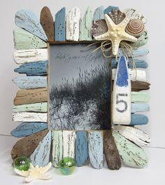 Beach Decor Driftwood & Seashell Frame - Nautical Decor Shell Frame w Buoy Ornament. $60.00, via Etsy.