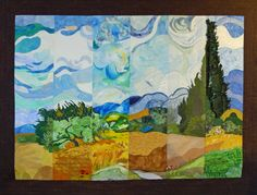 Slice quilt from C&T Publishing. Based on Wheat Field with Cypresses by Vincent van Gogh. The six slices were made by C&T staff. From left to right: Sandy Peterson, Teresa Stroin, Mary Wruck, Lynn Koolish, Gailen Runge, and Liz Aneloski. Check the blog for some close up photos.