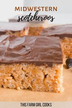 Peanut Butter and Chocolate Scotcheroos So chewy and delicious, we love these quick and easy homemade scotcheroos! They're one of my best desserts and are loaded with chocolate and peanut butter, and can be made with rice krispie cereal or Special K! Rice Crispy Treats, Yummy Treats, Sweet Treats, Peanutbutter Rice Krispie Treats, Peanut Butter Rice Krispies, Easy Desserts, Delicious Desserts, Easy Peanut Butter Desserts, Potluck Desserts