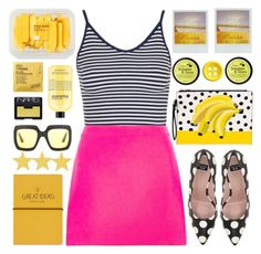 """""""Stripes, Dots and Colors"""" by karineminzonwilson ❤ liked on Polyvore featuring Topshop, Versace, Boutique Moschino, I Love..., Gucci, Chanel, MANGO, Comodynes, philosophy and NARS Cosmetics"""