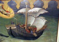 Gentile da Fabriano - Polittico Quaratesi: San Nicola salva una nave dalla tempesta (predella), dettaglio - 1425 - Pinacoteca, Vaticano