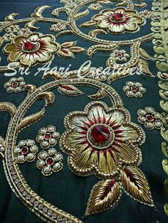 Almeena's media statistics and analytics Zardosi Embroidery, Bead Embroidery Patterns, Hand Work Embroidery, Couture Embroidery, Embroidery Suits, Gold Embroidery, Embroidery Fashion, Hand Embroidery Designs, Embroidery Stitches
