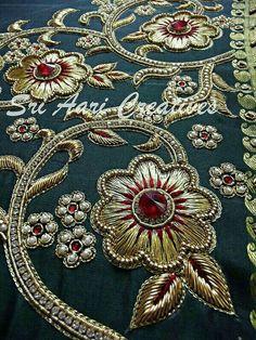 Almeena's media statistics and analytics Zardosi Embroidery, Bead Embroidery Patterns, Hand Work Embroidery, Couture Embroidery, Gold Embroidery, Embroidery Fashion, Hand Embroidery Designs, Embroidery Stitches, Saree Tassels Designs