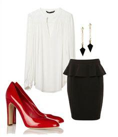 Para cualquier ocasión :una falda peplum negra, una camisa blanca básica y tus tacones rojos. Aretes de Aldo.