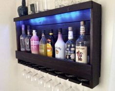 Wine Rack - QUICK Ship RUSTIC - Lighted - Liquor Cabinet Finished in Dark Brown Espresso - Wall Mounted - With Blue LED Lights - Wine Glass