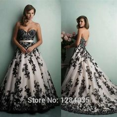Cool ball gown prom dresses black and white 2017-2018