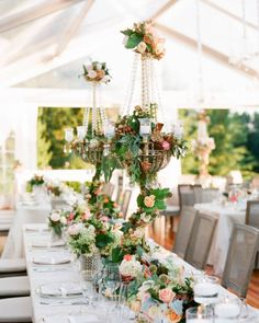 Magic was in the air at this traditional Berkshires wedding, and this gorgeous tablescape was part of its enchanting spell! | Photography: @heatherwaraksa | Event Planning: In Any Event | Floral Design: @sayleslivingstondesign | Stationery: @cecinewyork | Linens + Rentals: @rentalsunlimited | Tent: @weddingtents | Film Processing: @richardphotolab