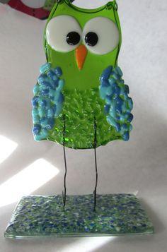 Owl, Free Standing Figurine, Fused Glass, Green, Glass Owl $39.99 www.ebay/usr/MattsGlassact