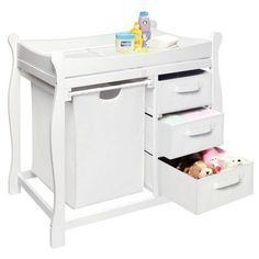 Badger Basket Changing Table with Hamper and Baskets - White