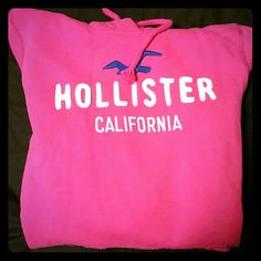 Hollister hoodie Hollister hoodie in pink. White lettering/blue bird logo. Warm/comfy. 60% Cotton, 40% Polyester. Gently worn. No holes, stains, etc. In very good condition! Hollister Tops Sweatshirts & Hoodies