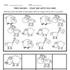 5 counting worksheets featuring cartoon farm animals. Count the number of each animal and write the number in the box next to the picture. Numbers ...