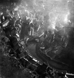 """Aerial shot of Aubusson by Robert Doisneau - 1945. Looks like William Blake's """"dark Satanic fields"""" description of England in the throes of the early Industrial Revolution."""