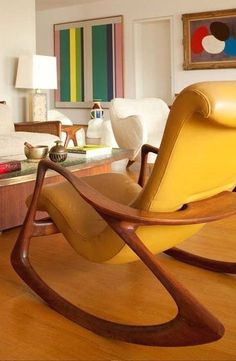 great yellow leather chair, mid century.
