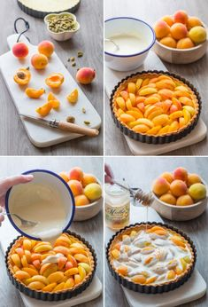 Preparation of an apricot pie Apricot Pie, Apricot Recipes, Sweet Recipes, Party Desserts, Dessert Recipes, Cooking Time, Cooking Recipes, Dessert Aux Fruits, Sweet Pie