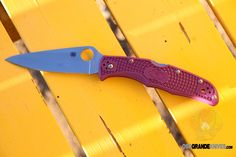 Spyderco C10FPPR Endura Flat Ground, VG10, Satin PlainEdge, Purple FRN Handle. If you already own a Delica or Endura, you have one of the bestselling knives Spyderco makes. http://www.osograndeknives.com/store/catalog/every-day-carry-folders/spyderco-c10fppr-endura-flat-ground-vg10-satin-plainedge-purple-frn-handle-4967.html