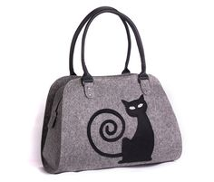 Cat handbag Felt cat purse Cat bag Felted bag Felted by volaris