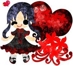 秋のフリーのイラスト素材可愛い女の子とヒガンバナと赤いハートのクリスタル  Free Illustration of autumn A cute little girl and the spider lily and a red heart crystal   http://ift.tt/2bEfA38