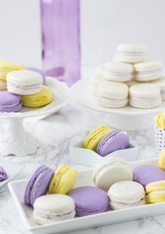 Low Unwanted Fat Cooking For Weightloss These Beautiful And Colorful Lavender Honey Macarons Are A Perfect Addition To Any Dessert Table Or Spring Celebration. With Hints Of Lavender And Honey They Are Delicious. Desserts Ostern, Köstliche Desserts, Delicious Desserts, Dessert Recipes, Macaroons Flavors, Make Ahead Desserts, Lavender Honey, Fudge, Profiteroles
