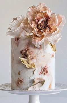 Wedding Cake Decorations, Cool Wedding Cakes, Elegant Wedding Cakes, Textured Wedding Cakes, Painted Wedding Cake, Fondant Tips, Just Cakes, Wedding Cake Inspiration, Floral Cake