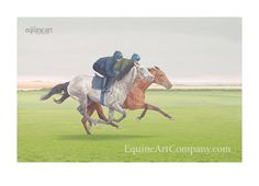 Newmarket Heath's Summer Canter is the setting for this spirited painting of a grey and bay horse being put through their paces, on an overcast English summer morning. Horse Racing, Race Horses, Horse Galloping, Bay Horse, Equine Art, Horse Art, Limited Edition Prints, Equestrian, Oil On Canvas
