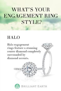 A highly sought after style, halo engagement rings feature a stunning center diamond or gemstone completely surrounded by diamond accents. The halo style evokes floral imagery with dazzling sparkle.