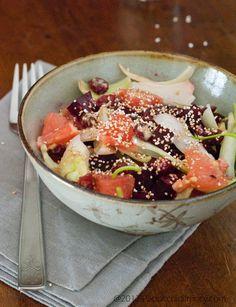 (Grapefruits, Beet, and Amaranth salad) Paciocchi di Francy: Insalata di pompelmo, barbabietole e pop-amaranto #beets #amaranth #grapefruit