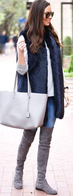 Navy Faux Fur Vest / Grey Leather Tote Bag / Dark Velvet OTK Boots / Bleached Skinny Jeans