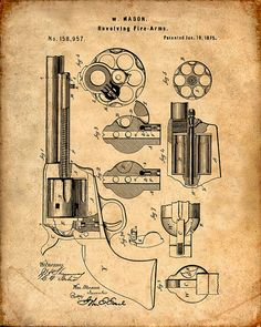 Patent Print of a Mason Revolver from 1875 - Patent Art Print - Patent Poster