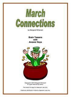 """LESSON - """"March Connections"""" - Go to The Best of Teacher Entrepreneurs for this and hundreds of free lessons. Fun Classroom Activities, Classroom Ideas, Speech Activities, Spring Activities, Educational Activities, Ninth Grade, Seventh Grade, Second Grade, Brain Teasers For Kids"""