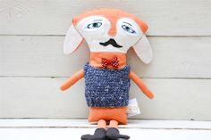 Orange linen fox.Gentleman fox with mustaches and bow by Kimuka, $50.00