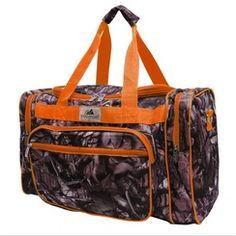 "20"" Natural Camo and Orange Travel Duffle Bag"