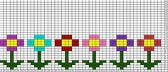 Little flowers (could also use this pattern for embroidery or hama beads, etc) Cross Stitch Cards, Cross Stitch Borders, Cross Stitch Baby, Cross Stitch Designs, Cross Stitching, Cross Stitch Patterns, Fair Isle Knitting Patterns, Knitting Charts, Knitting Stitches