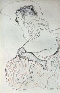 Gustav Klimt Female Nude, Turned to the Left