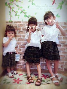 三姉妹リンクコーデ♡◡̈⃝⋆* めーっちゃ久しぶりに履かせたカモフラのスカート!!冬ぶり?笑 ヘアゴ