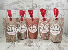 """Christmas Treat Bags using 6"""" x 6"""" Candy Cane Lane Designer Series Paper by Stampin' Up! Demonstrator Kim Price from Somerset, UK"""