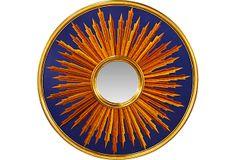 Blue & Gold Sunburst Mirror