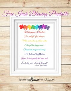Free Irish Blessing Saint Patrick's Day Printable! Such a sweet poem, love this!