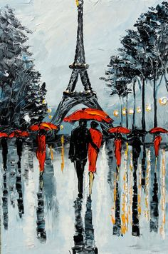 PARIS Painting Palette Knife Painting Abstract Art GOLDIE Original Oil Rainy…